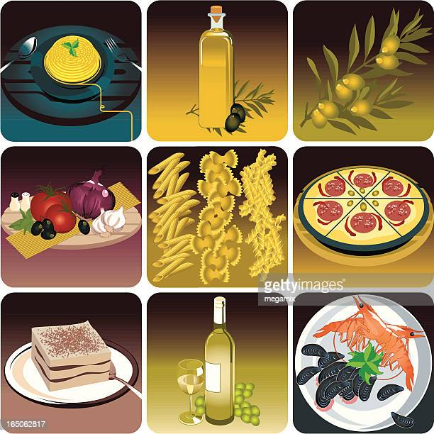italian food. - macaroni stock illustrations, clip art, cartoons, & icons