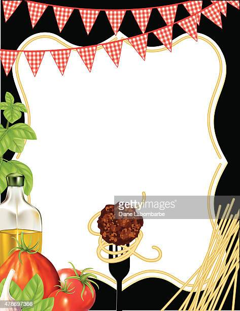 italian foods pasta background with frame - basil stock illustrations, clip art, cartoons, & icons