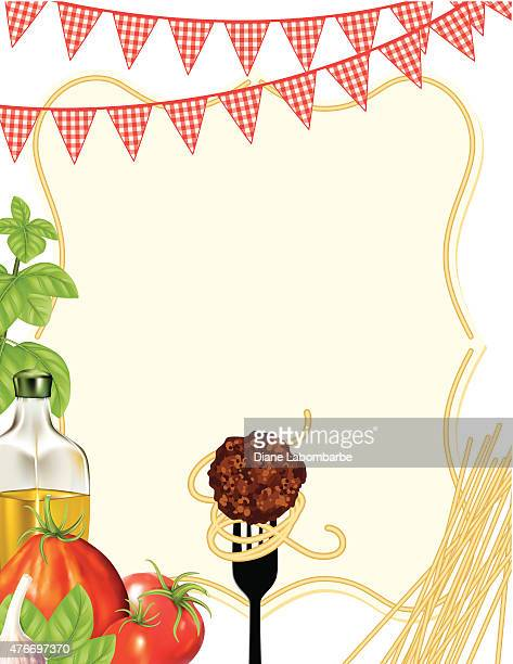 Italian Foods Pasta Background With Frame