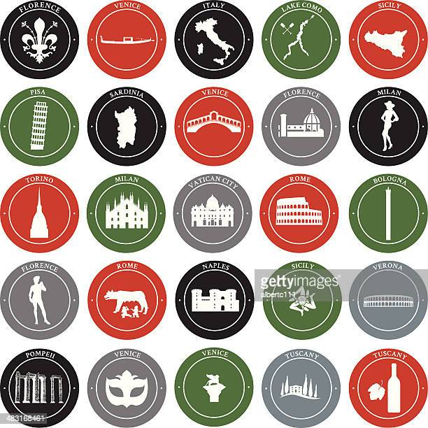 italian landmarks - simple decals - naples italy stock illustrations