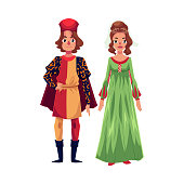Italian Man and woman in Renaissance time costumes, clothing