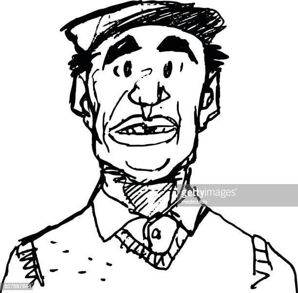 italian man - flat cap stock illustrations