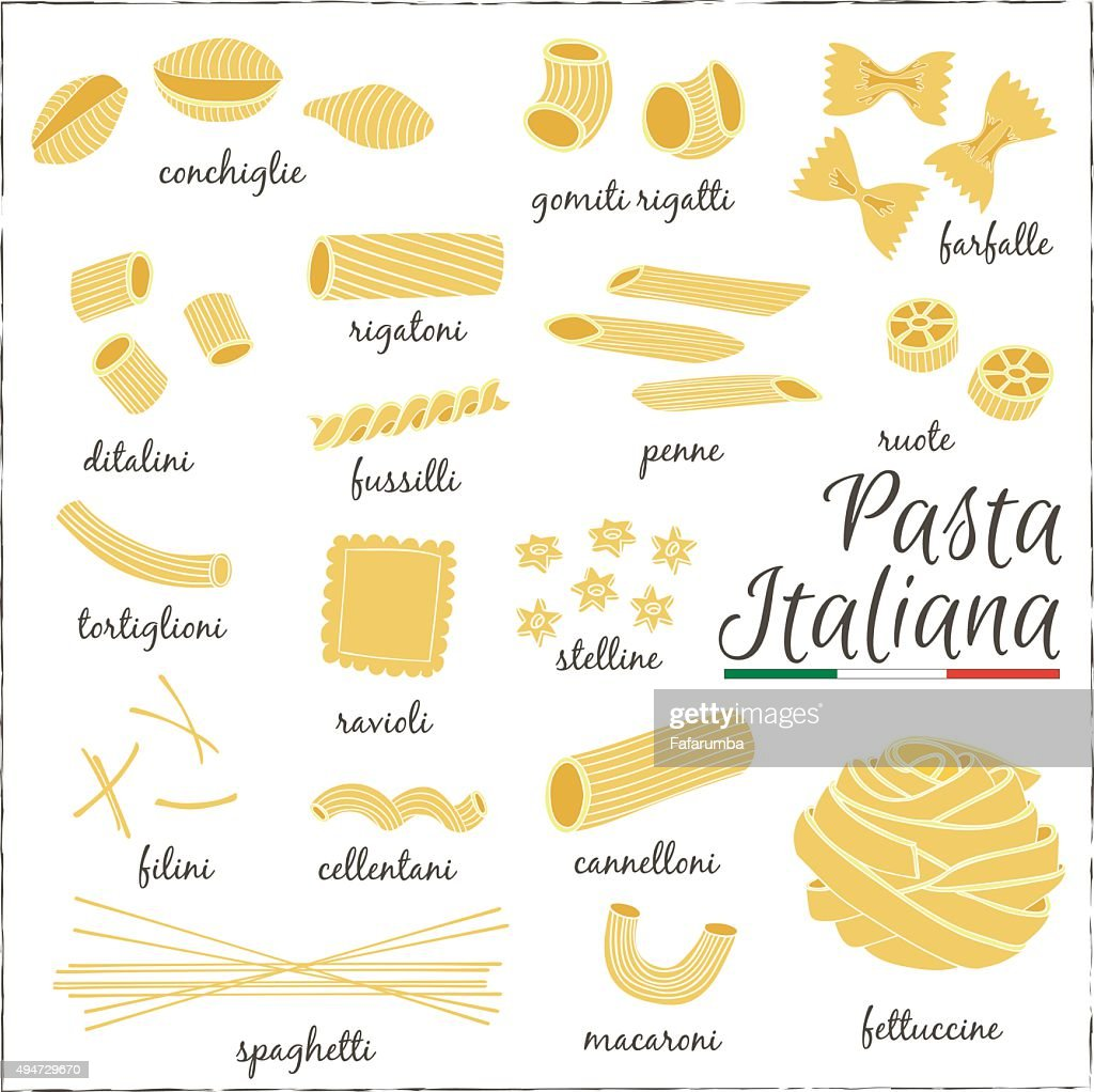 Italian Pasta collection drawings. Sketches.