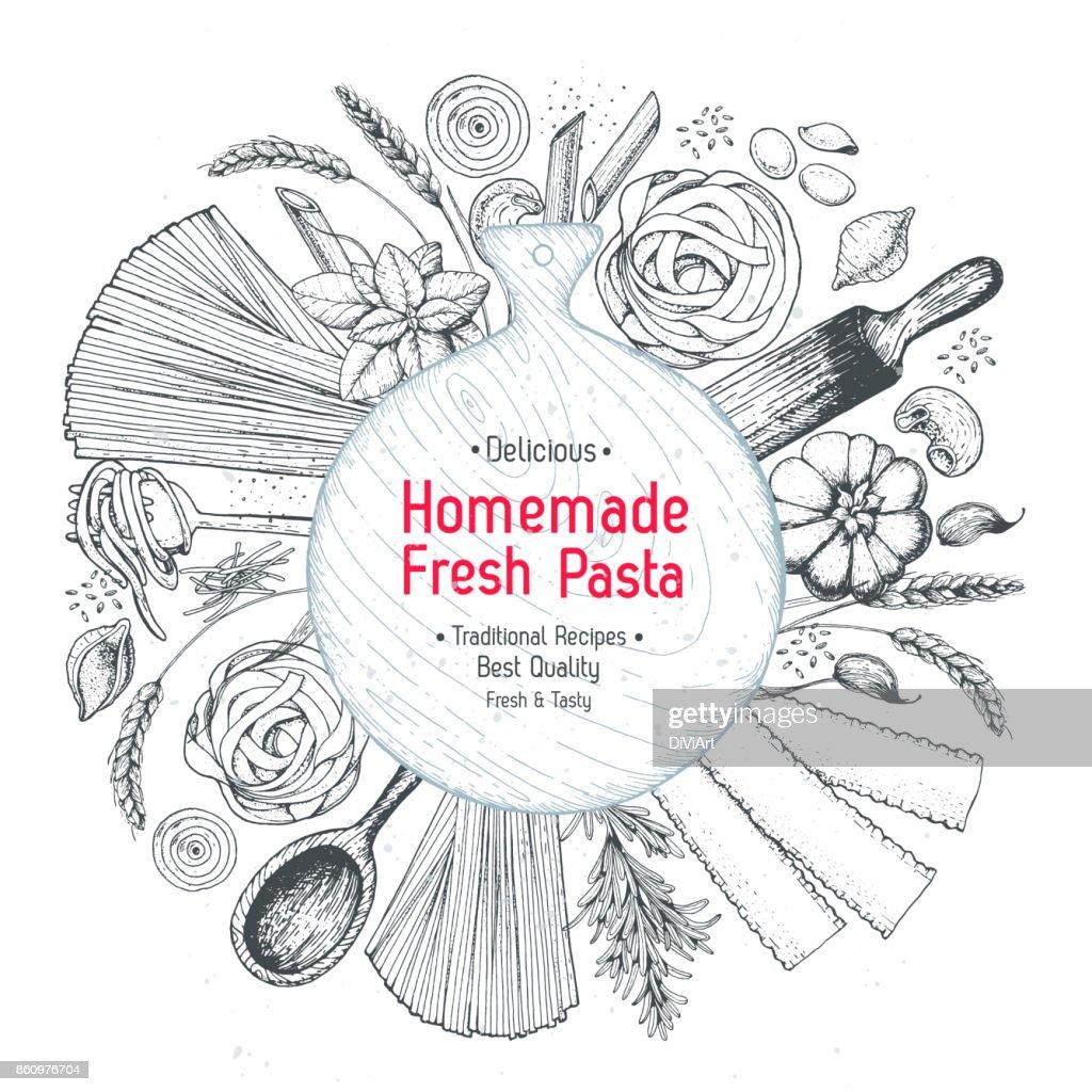 Italienische Pastalabel Handgezeichnete Vektorillustration Sammlung ...