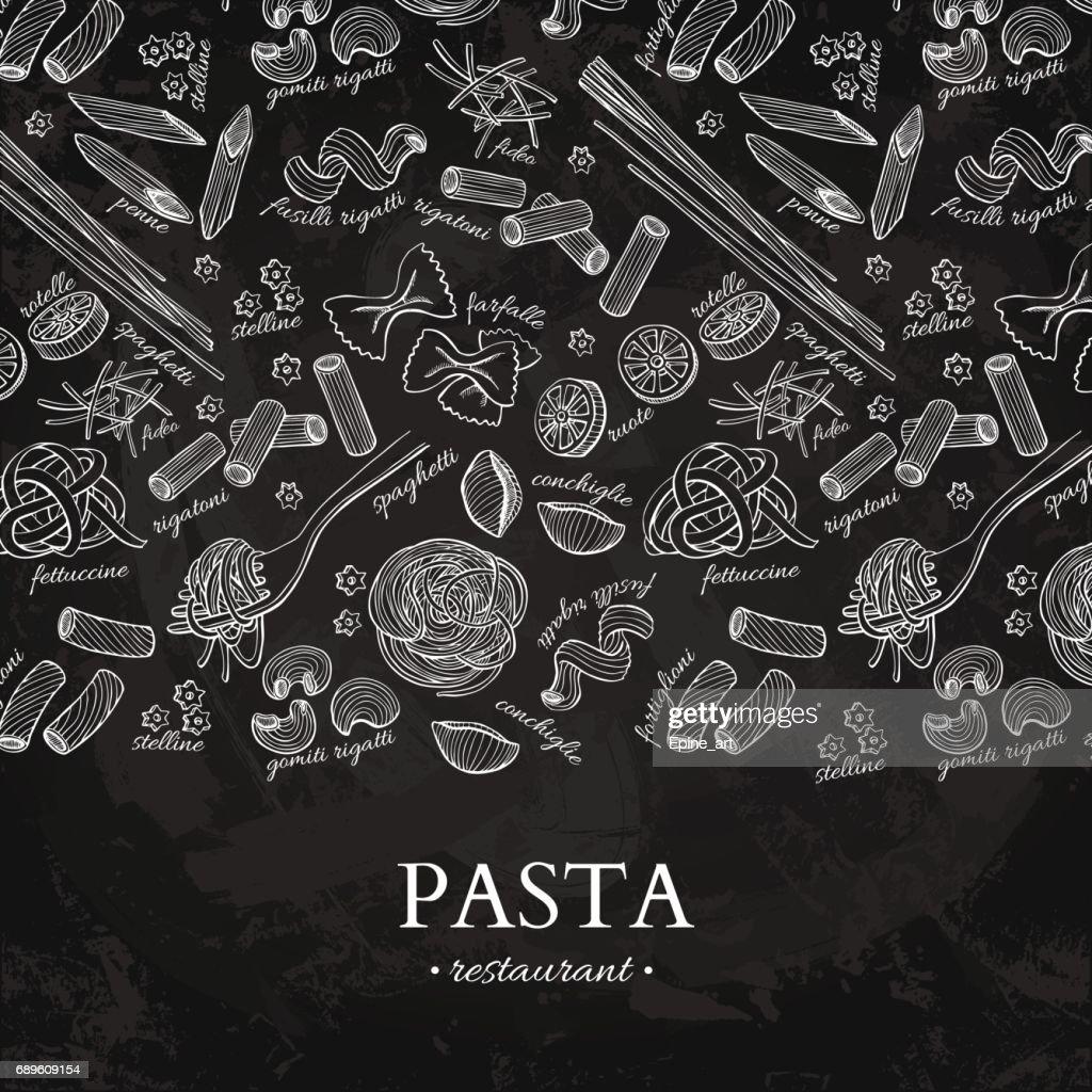 Italian pasta restaurant vector vintage illustration. Hand drawn chalkboard banner