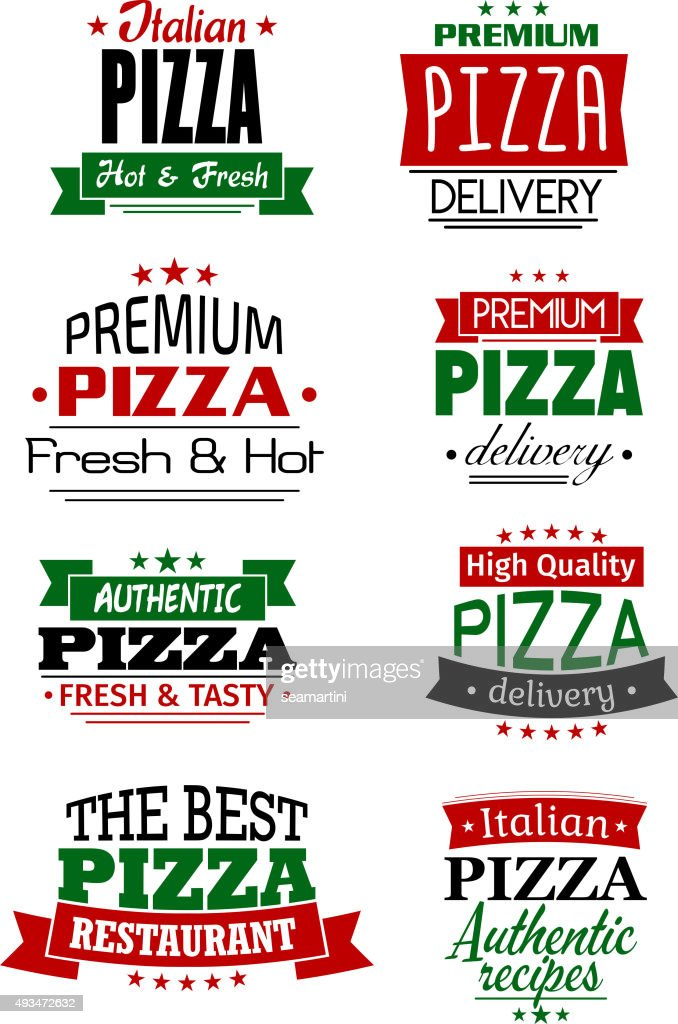 Italian pizza headers, banners and labels