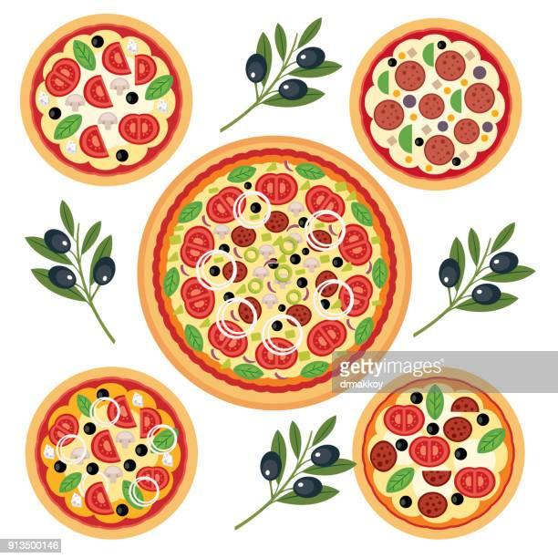 ilustraciones, imágenes clip art, dibujos animados e iconos de stock de pizza italiana  - pizza