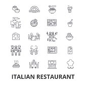 italian restaurant, kitchen, spaghetti, sea food, cooking line icons. Editable strokes. Flat design vector illustration symbol concept. Linear isolated signs