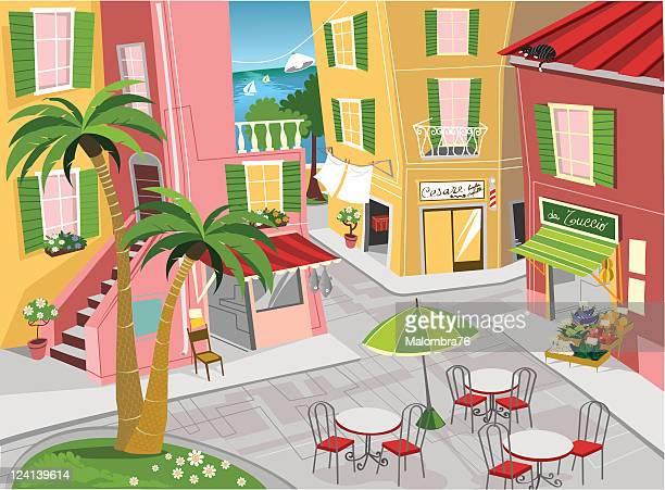 ilustrações, clipart, desenhos animados e ícones de mar cidade italiana - pilritreiro