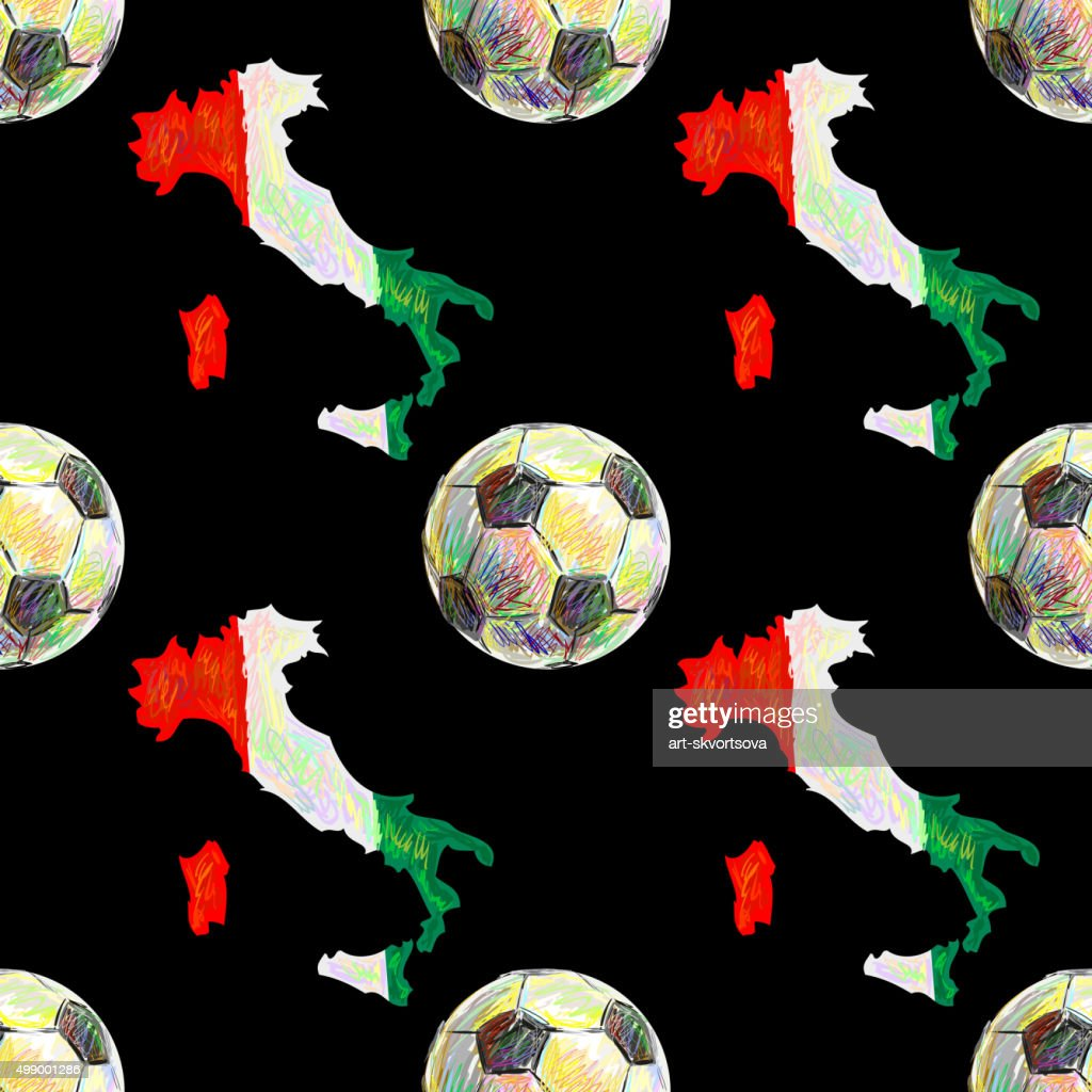 Italian sport seamless pattern with map and football ball