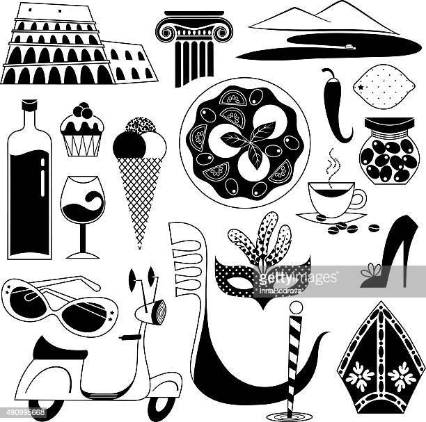 italian symbols. - mt vesuvius stock illustrations, clip art, cartoons, & icons
