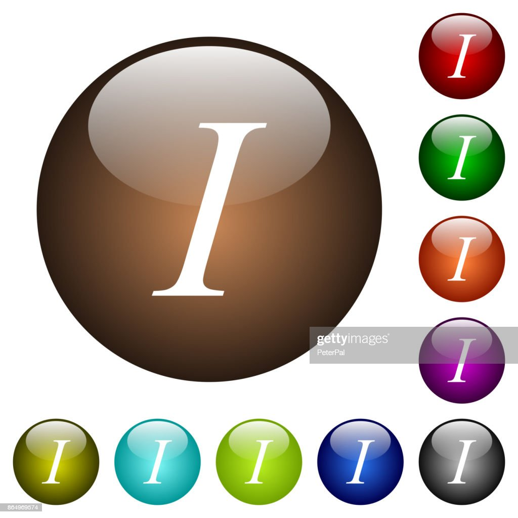 Italic font type color glass buttons