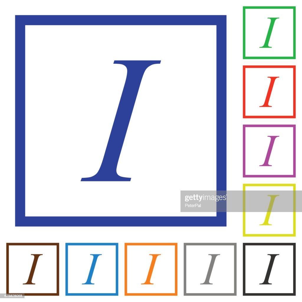 Italic font type framed flat icons