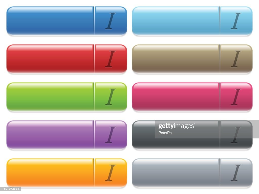 Italic font type icons on color glossy, rectangular menu button