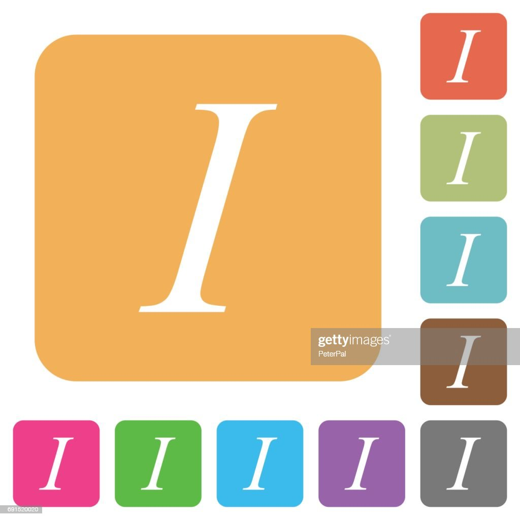 Italic font type rounded square flat icons