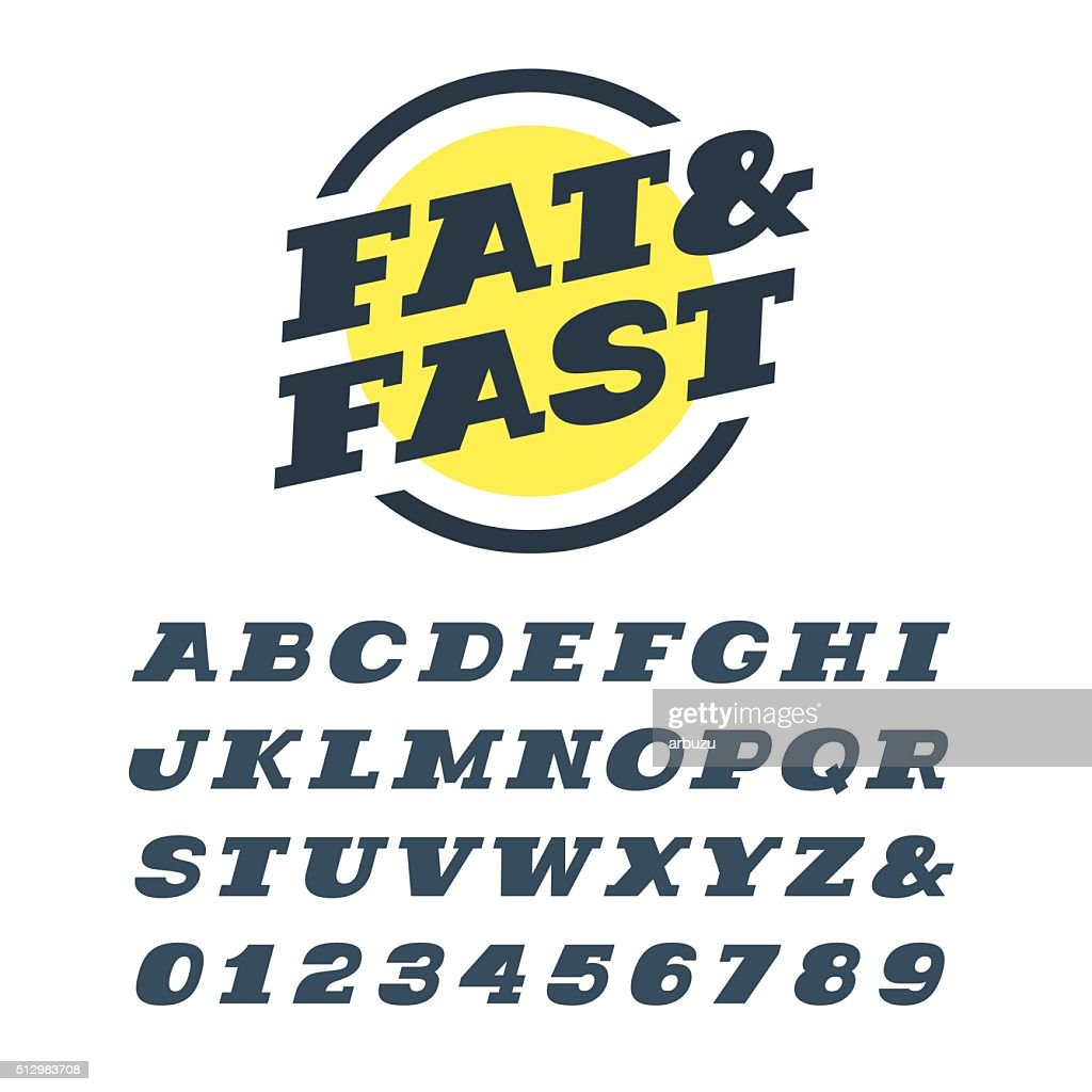 Italic slab serif font. Vector alphabet with letters and numbers