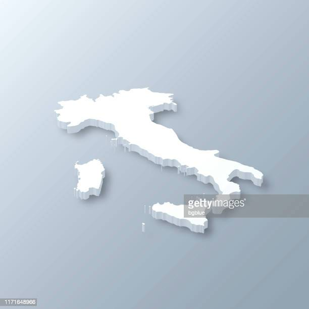 illustrazioni stock, clip art, cartoni animati e icone di tendenza di italy 3d map on gray background - italia