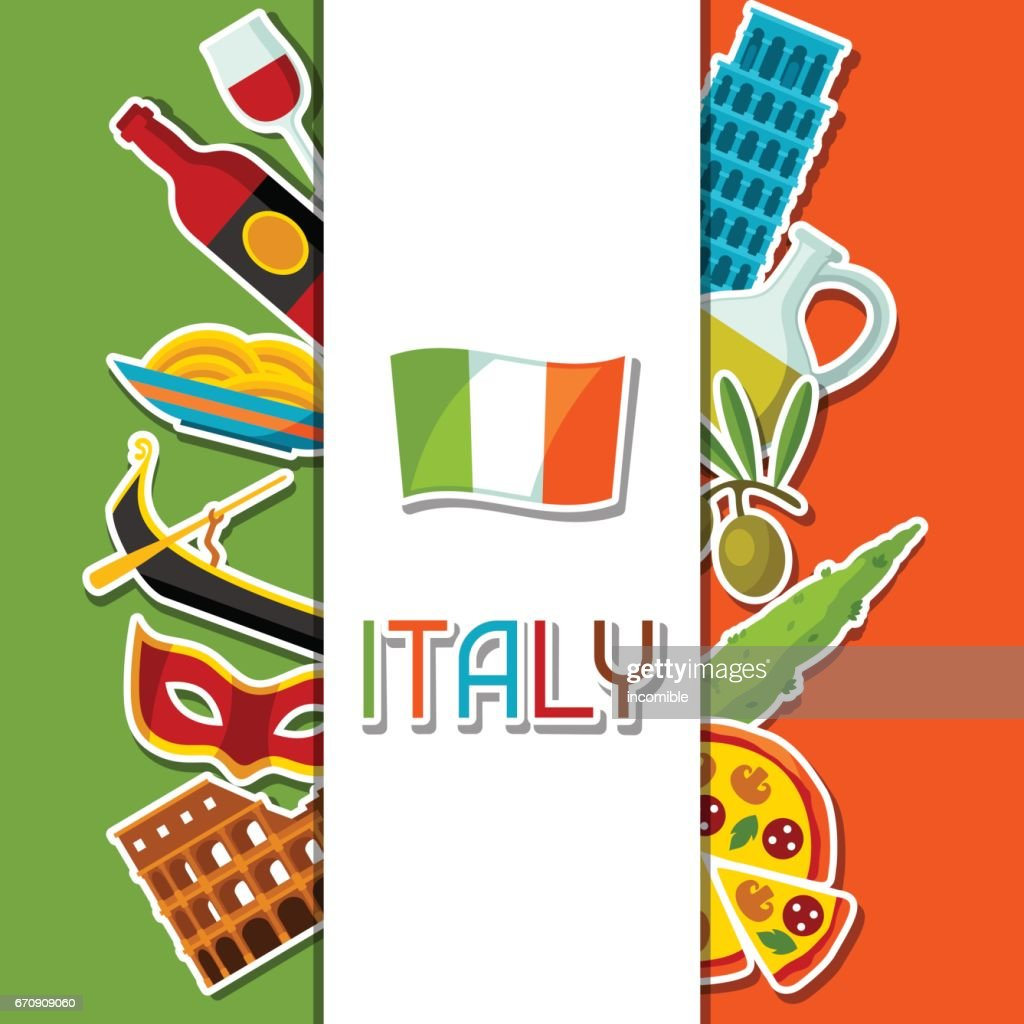 Italy Background Design Italian Sticker Symbols And Objects Vector