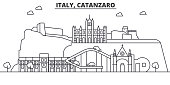 Italy, Catanzaro architecture line skyline illustration. Linear vector cityscape with famous landmarks, city sights, design icons. Landscape wtih editable strokes