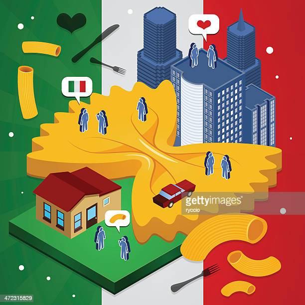 italy city - macaroni stock illustrations, clip art, cartoons, & icons