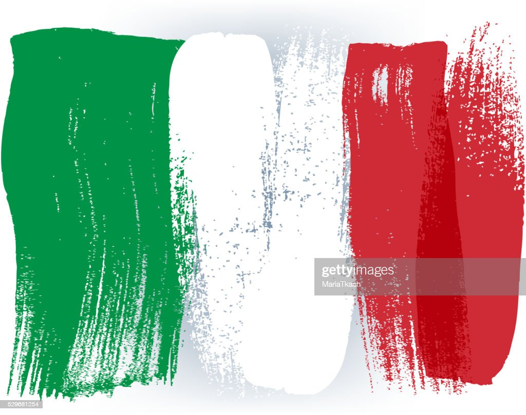 Italy colorful brush strokes painted flag