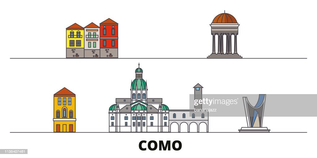 Italy, Como flat landmarks vector illustration. Italy, Como line city with famous travel sights, skyline, design.