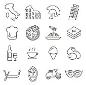 Italy Country & Culture Icons Thin Line Vector Illustration Set