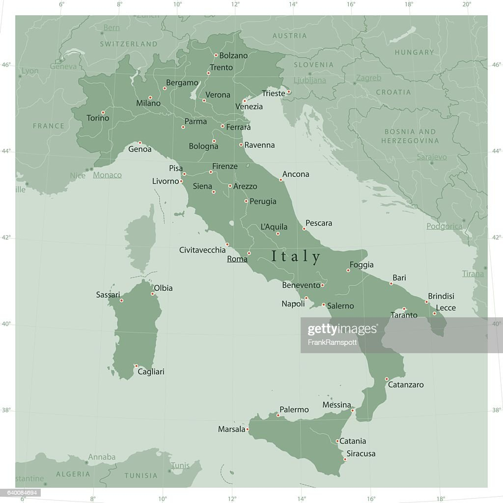 Italy Country Vector Map Olive Green
