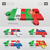 Italy Flag. 3d vector puzzle. Set 08.