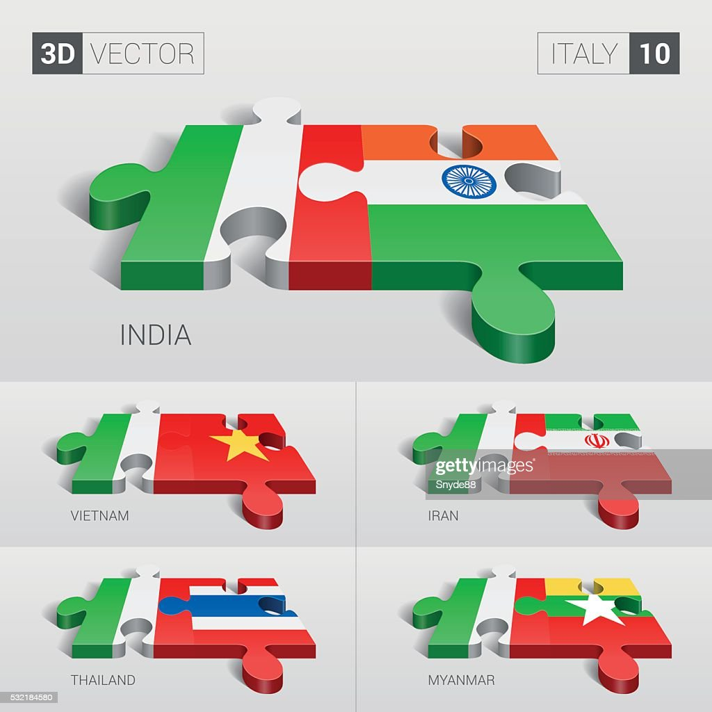 Italy Flag. 3d vector puzzle. Set 10.