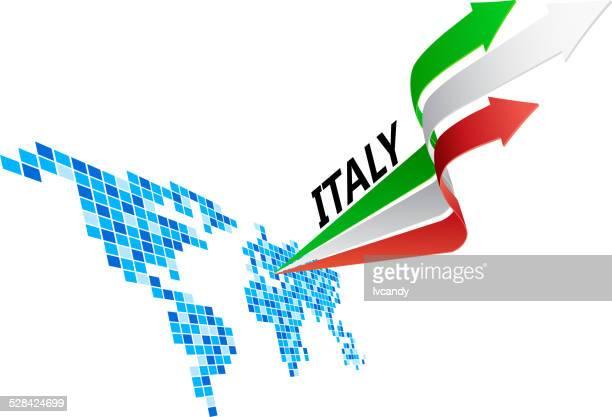illustrazioni stock, clip art, cartoni animati e icone di tendenza di italia bandiera freccia - europa meridionale