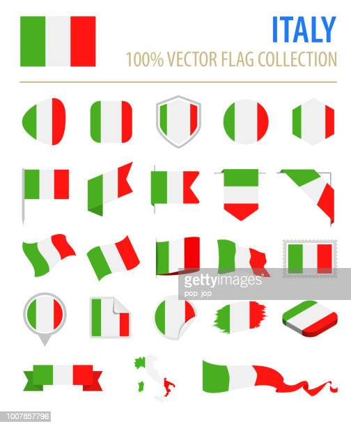 Italy - Flag Icon Flat Vector Set