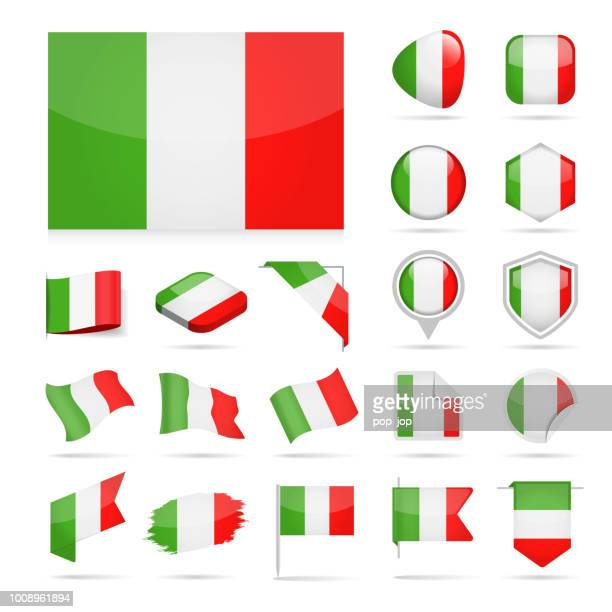 italy - flag icon glossy vector set - corner stock illustrations