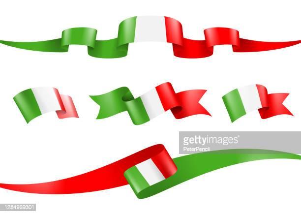 italy flag ribbon set - vector stock illustration - italian flag stock illustrations