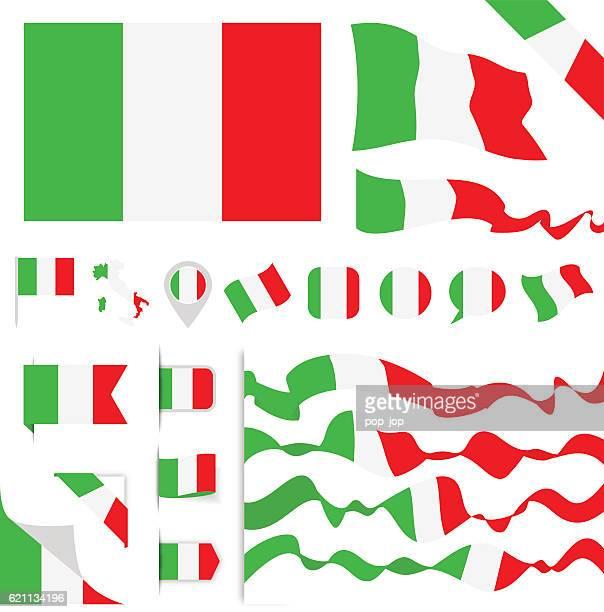 italy flag set - italian flag stock illustrations