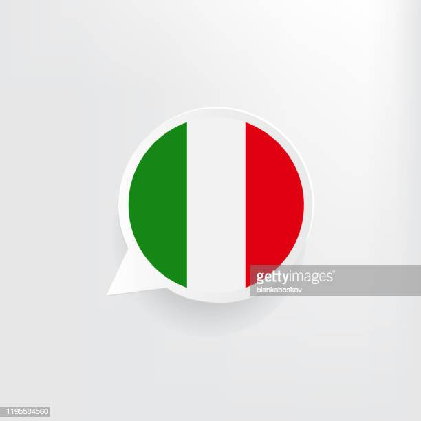 italy flag speech bubble - all european flags stock illustrations