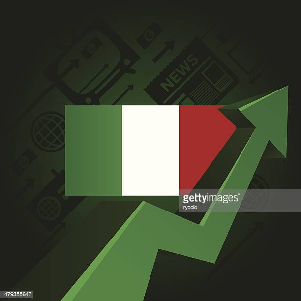 italy flag with arrow pointing up, media icons included - european union euro note stock illustrations, clip art, cartoons, & icons