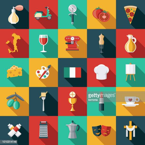 italy flat design icon set - italy stock illustrations