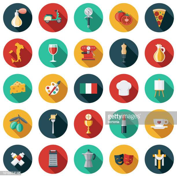 italy flat design icon set - international border stock illustrations