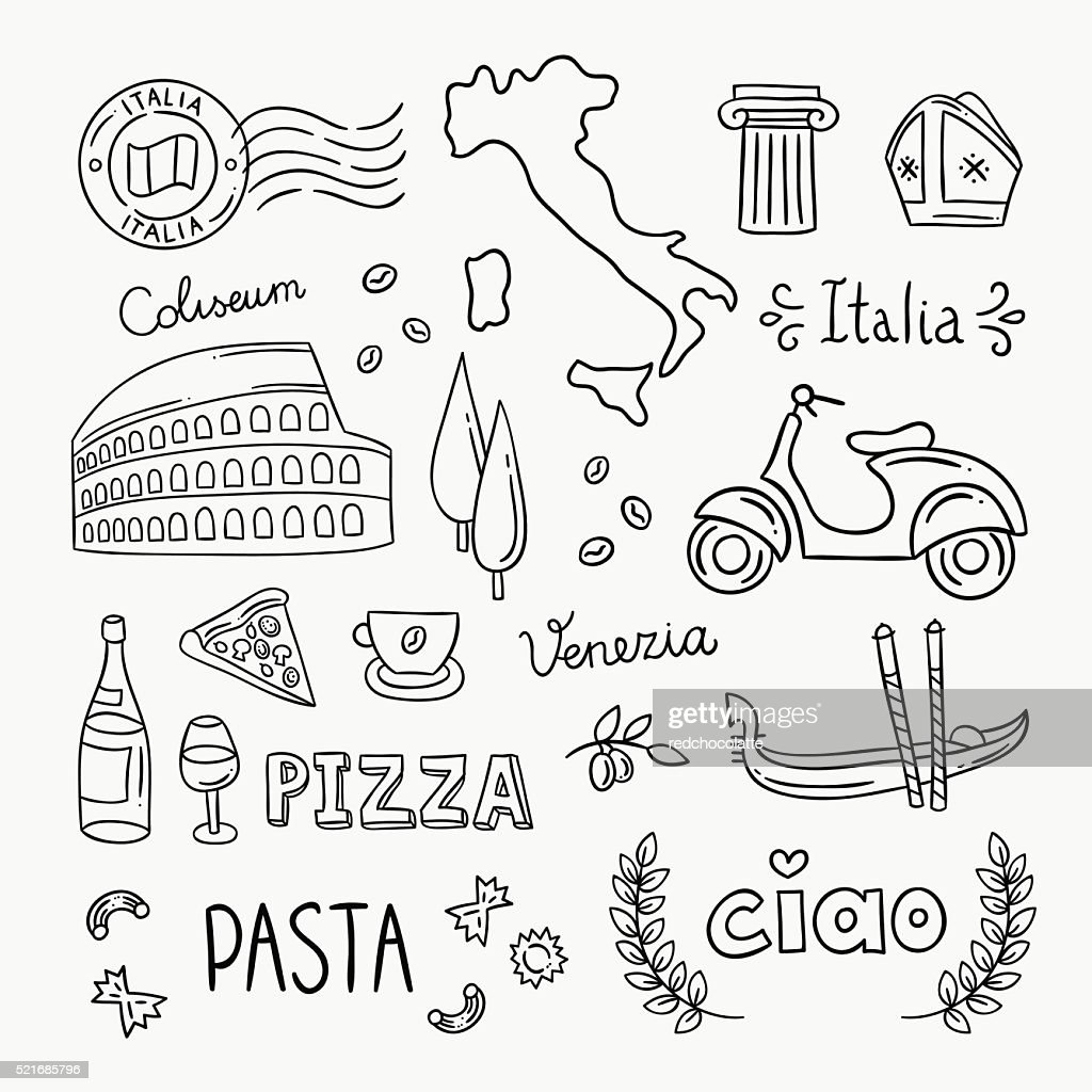 Italy hand drawn icons and vector illustrations