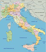 Italy - Highly detailed editable political map.