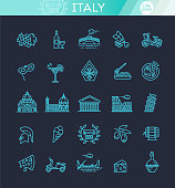 Italy icons set. Tourism and attractions, thin line design.
