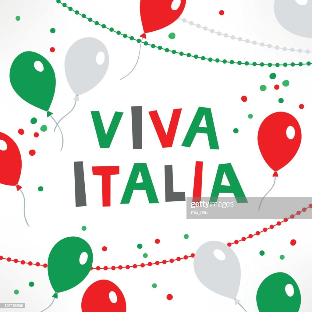 Italy Independence Day Greeting Card With Balloons Confetti And