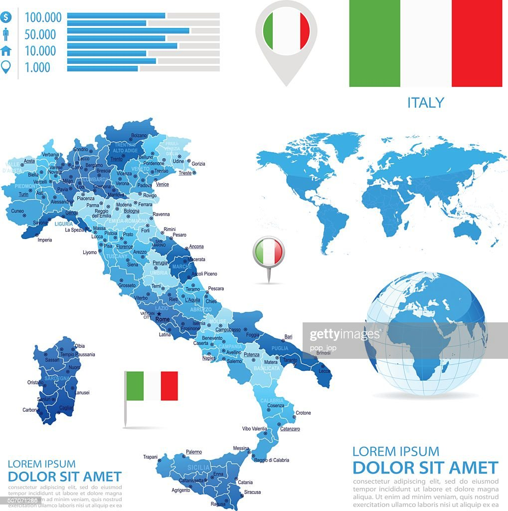 Italy Infographic Map Illustration Vector Art Getty Images