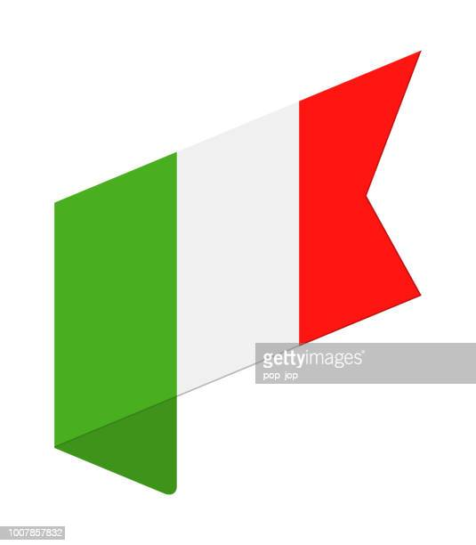 Italy - Isometric Label Flag Vector Flat Icon