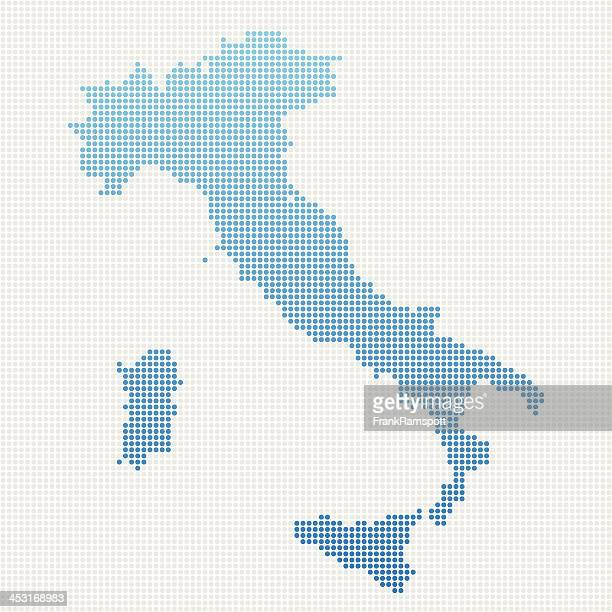 italy map blue dot pattern - italy stock illustrations
