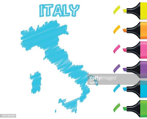 イタリアマップ白の背景に手描きされた、ブルー蛍光 - イタリア点のイラスト素材/クリップアート素材/マンガ素材/アイコン素材