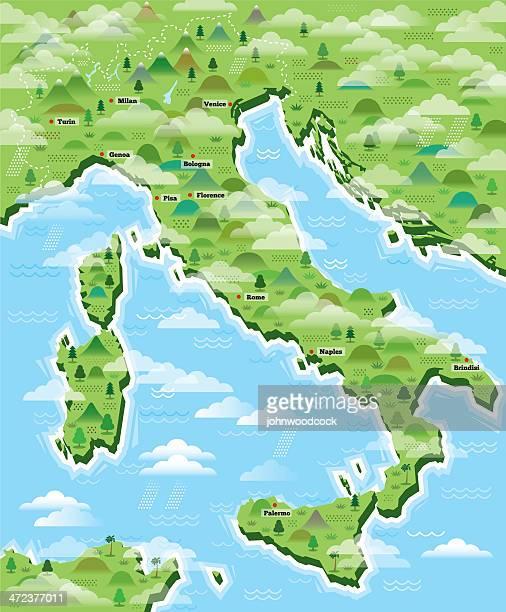 italy map illustrated - sardinia stock illustrations, clip art, cartoons, & icons