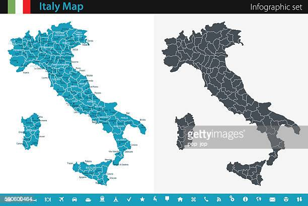 italy map - infographic set - italy stock illustrations