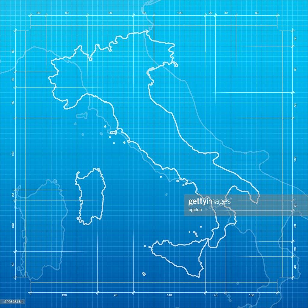 Italy map on blueprint background vector art getty images italy map on blueprint background vector art malvernweather Images